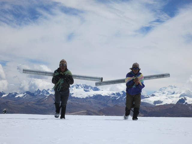 Carrying galvanized steel pipe for mounting OTT weather sensors up to 18,537 ft in Peru